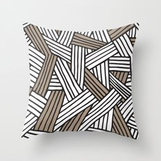Lines in Natural Throw Pillow