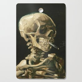 Skull of a Skeleton with Burning Cigarette by Vincent van Gogh Cutting Board