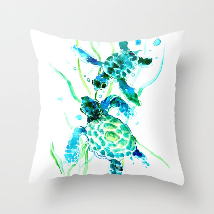 Sea Turtles Turquoise Blue Design Throw Pillow By Sureart Society6