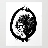femme à lunettes. Art Print