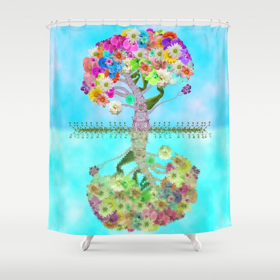 Cute Whimsical Bright Floral Tree Collage Teal Sky Shower Curtain