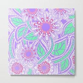 Zen Flowers Doodle Design - Lavender Green Metal Print