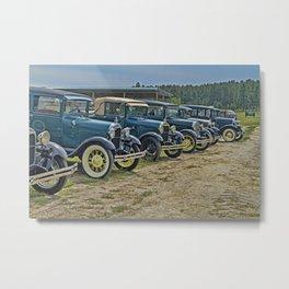 Vintage Car Lineup Metal Print