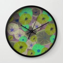 Watercolor & Ink Morning Glories Wall Clock