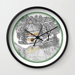Round Barn Inn, Waitsfield, Vermont near Sugarbush- Zentangle illustration Wall Clock