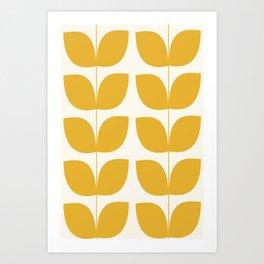 Mid Century Modern Leaves Yellow #society6 #buyart  Art Print