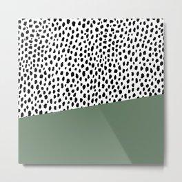 Dalmatian Spots with Sage Green Stripe Metal Print