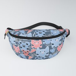 Friendship of a cat and mouse, ball, hearts Fanny Pack