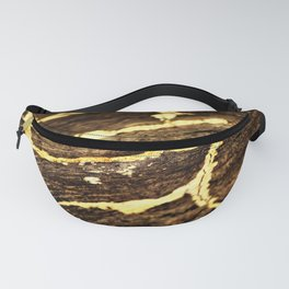Gold Veining on Rustic Raw Wood Fanny Pack