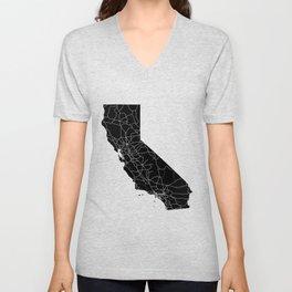 California Black Map Unisex V-Neck