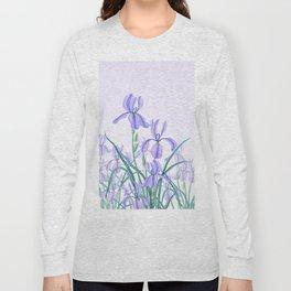 purple iris watercolor Long Sleeve T-shirt