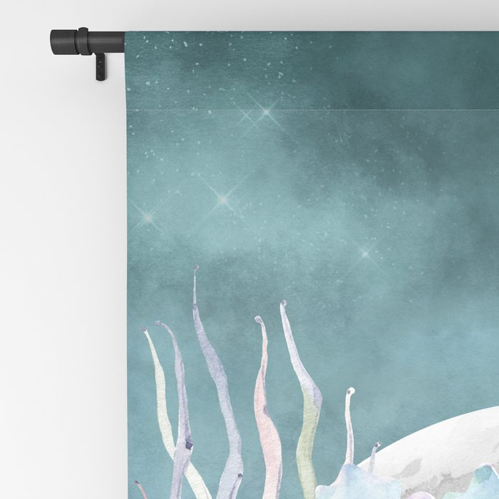 Beautiful Succulents Full Moon Teal Pink Blackout Curtain