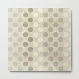 """Nude Burlap Texture and Polka Dots"" Metal Print"