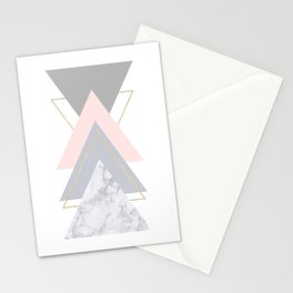 Blush Marble Gray Gold Geometric Pattern Stationery Cards