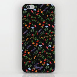 Dark Flower Pattern iPhone Skin