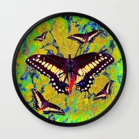 butterflies Wall Clocks featuring butterflies  by  Agostino Lo Coco
