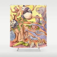asia Shower Curtains featuring Asia by Emelinedou