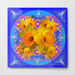 Sapphire Blue Morning Glories & Daffodils Pattern Art Metal Print