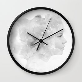 Double exposure female black and white Wall Clock