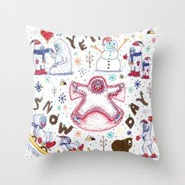 Yeti Snow Day Throw Pillow