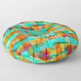 Weathered Plaid Orange & Aqua Floor Pillow