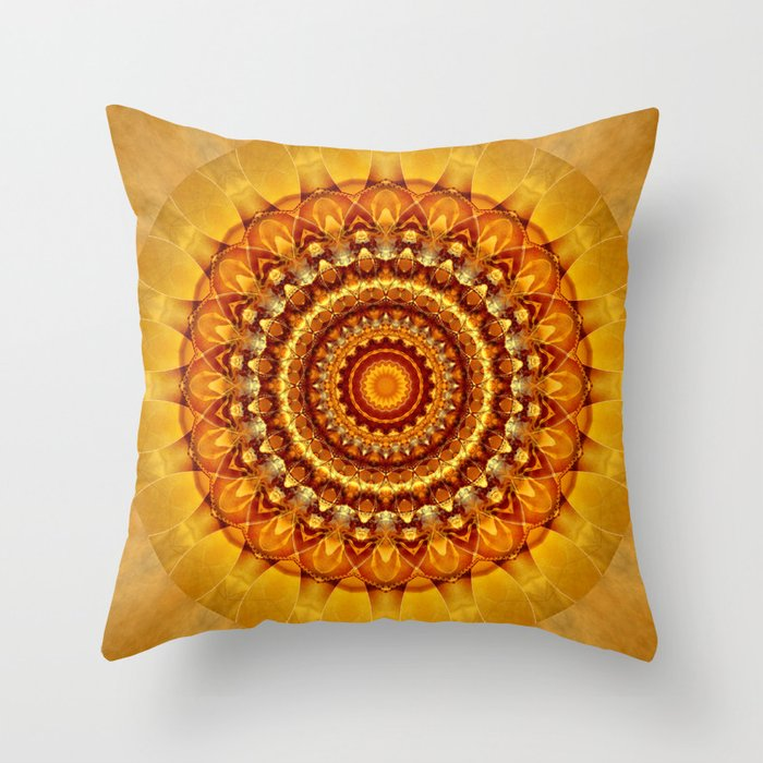 Mandala Bright Yellow Throw Pillow