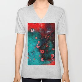 Red Turquoise Textured Abstract Unisex V-Neck