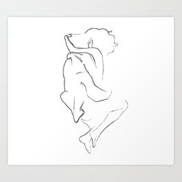 Young couple cuddling line drawing Art Print