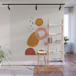 'Lift Off' Earth Tones Neural Warm Colors Fun Space Shapes Yellow Ochre Tan Brown by Ejaaz Haniff Wall Mural