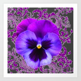 SPRING PURPLE PANSY FLOWER &  DELICATE PATTERN Art Print