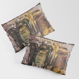 Fine art watercolor batik painting of honey jars at Farmers Market- Raleigh, North Carolina Pillow Sham