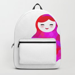 Russian doll matryoshka screw up one's eyes with bright rhombus on white background, pink colors Backpack