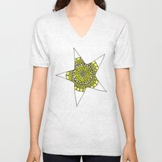 Yellow Superstar Mandala Star Unisex V-Neck