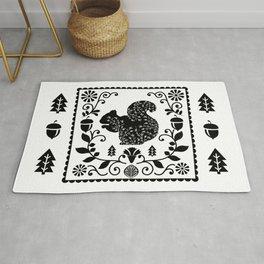 Woodland Folk Black And White Squirrel Tile Rug
