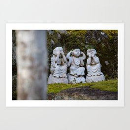 Three funny buddhas Art Print