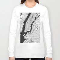 new york map Long Sleeve T-shirts featuring New York Map Gray by City Art Posters
