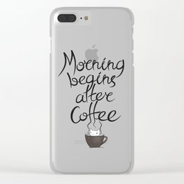 Morning Coffee Cat Clear iPhone Case