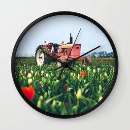 John Deere Tractor at Tulip Farm Wall Clock