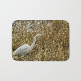 Great Egret Among the Rushes Bath Mat
