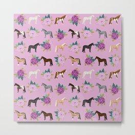 horse, floral, florals, flowers, pink, flowers, bloom, horse, horse bedding, horse blanket, horse, p Metal Print