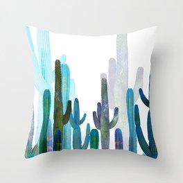 Cactus blue Throw Pillow