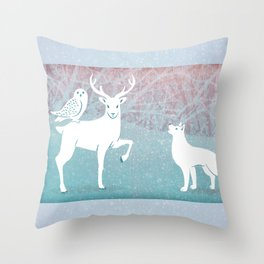 Winter In The White Woods Throw Pillow
