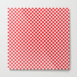 Red and White Christmas Check Squares Metal Print