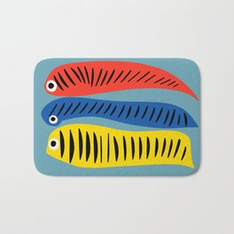 Fishes Red Blue and Yellow illustration for Kids Bath Mat