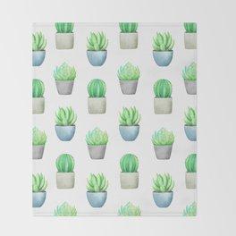 Succulent and Cactus Garden Pots Pattern Throw Blanket