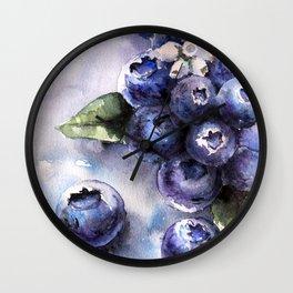 Watercolor Blueberries - Food Art Wall Clock