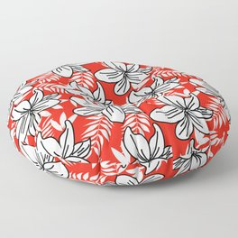 White florals on red Floor Pillow