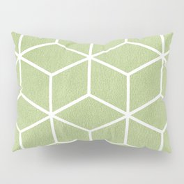 Lime Green and White - Geometric Textured Cube Design Pillow Sham