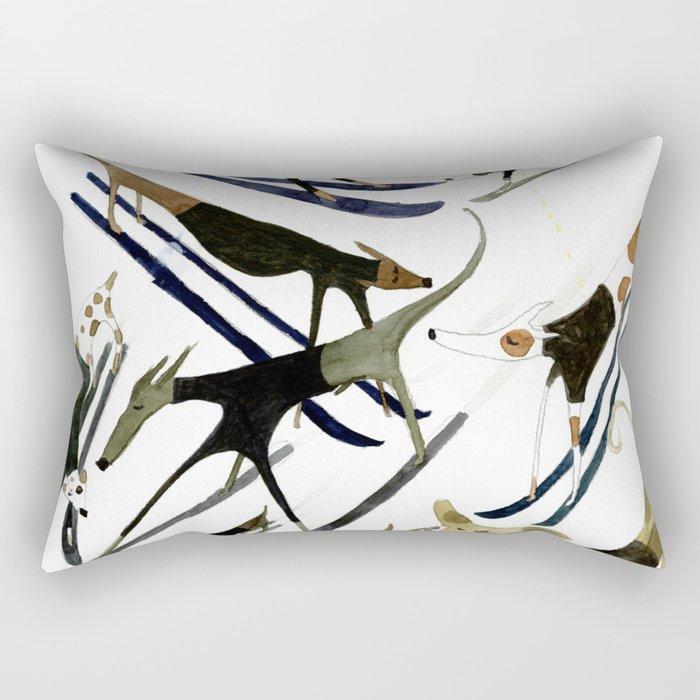 Beatnik Dogs Skiing Rectangular Pillow