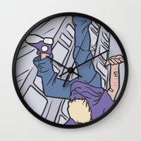 clint barton Wall Clocks featuring Hawkeye, Clint Barton by Brizy Eckert